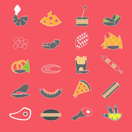 appetizers: Colorful beer snacks and party appetizers icon set on red backdrop. Digital background vector illustration.