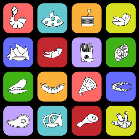 onion rings: Colorful beer snacks icon set. Digital background vector illustration.