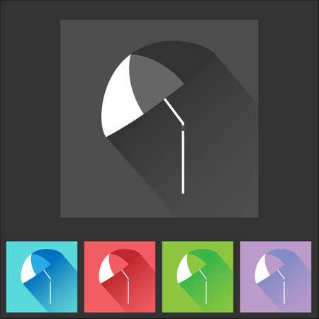 beach side: Colorful flat umbrella icon set. Digital background vector illustration