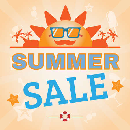 hot summer: Summer Sale Flyer Vector Illustration. Holiday Hot Vacation Card. Market Shop Goods Sale Banner.