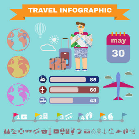 summer holiday: Colorful travel infographics. Summer holiday icon set digital vector background illustration.