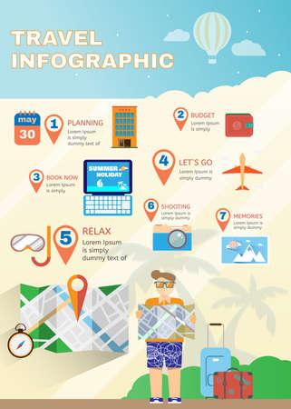 Planificador de vacaciones infografía verano plana. Viaja digital de fondo de la ilustración vectorial. Mapa guía.