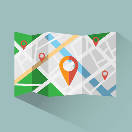 Colorful map with map pointers digital vector icon. Travel planner background illustration.