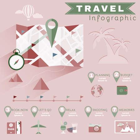 Planning Travel Infographics. Colorful Illustration for a Flyer or a Booklet. Digital Vector Background Image.
