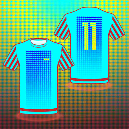 number eleven: Football Soccer Baseball Volleyball Team Sportswear Uniform. Stylish design for players t-shirts. Blue red shirt number eleven, front and back view. Digital background vector illustration.