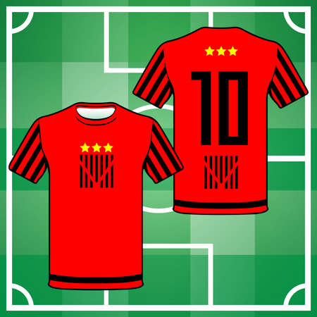 red shirt: Football Soccer Baseball Volleyball Team Sportswear Uniform. Stylish design for players t-shirts. Black and Red shirt number ten, front and back view. Digital background vector illustration. Illustration