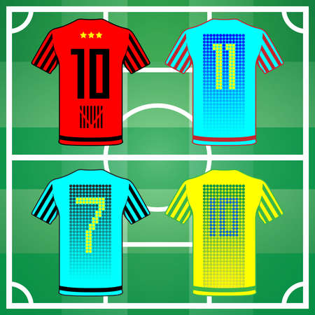 eleven: Football Soccer Baseball Volleyball Team Sportswear Uniform. Stylish design for players t-shirts. Four shirts yellow, blue, turquoise and red back view. Number seven, ten, eleven. Vector illustration. Illustration