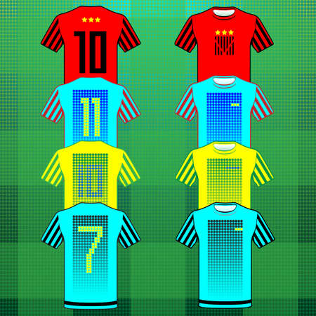 number eleven: Football Soccer Baseball Volleyball Team Sportswear Uniform. Stylish design for players t-shirts. Yellow, blue, turquoise and red shirts, front and back view. Number seven, ten, eleven. Vector.