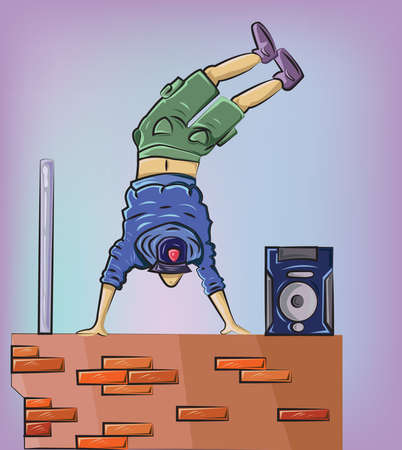 after school: Breakdancer performs on the brick wall. Free time after school activity. Digital background vector illustration. Illustration
