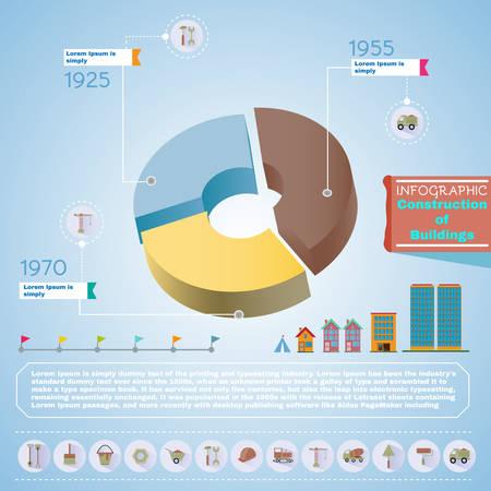 trustworthy: Pie chart construction diagram. Buildings construction infographic vector illustration. Trustworthy real estate company presentation template.