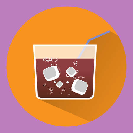 summer beach: Square Cocktail Glass with Drink, ice cubes and tube. Drink time Vector illustration.