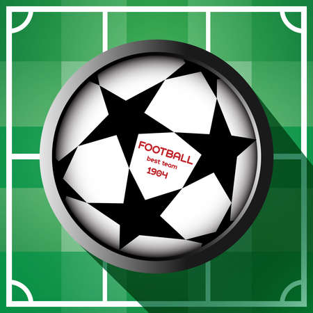 champions league: Champions league ball with stars isolated on football play field backdrop. Football Soccer ball digital background vector illustration.