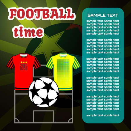 sport team: Voetbal computerspel scorebord. Champions league bal met sterren. Sportteam slijtage. Digitale achtergrond vector illustratie.