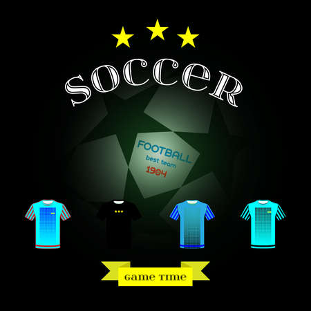 game time: Football Soccer game time. Sports team wear, Champions league ball with stars on the play field backdrop. Digital background vector illustration.