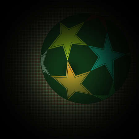 champions league: Champions league ball with stars isolated on dark backdrop. Colorful Football Soccer ball. Digital background vector illustration.