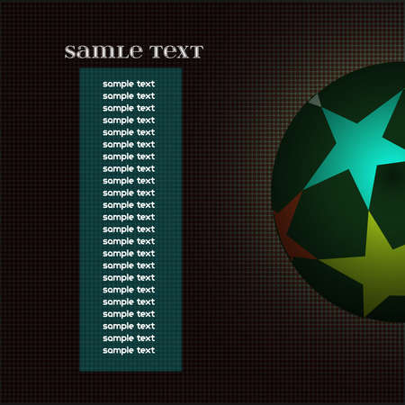 champions league: Champions league ball with stars isolated on dark backdrop. Information text board. Colorful Football Soccer ball. Digital background vector illustration.