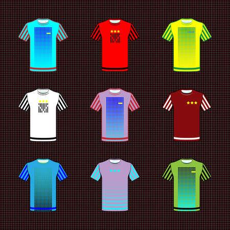 sportswear: Football Soccer Baseball Volleyball Team Sportswear Uniform. Stylish design for players t-shirts front view. Vector.