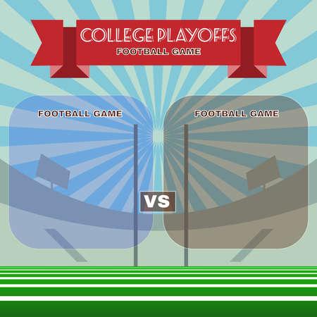 playoffs: College playoffs. Team versus team. Information text boards. Digital background vector illustration.