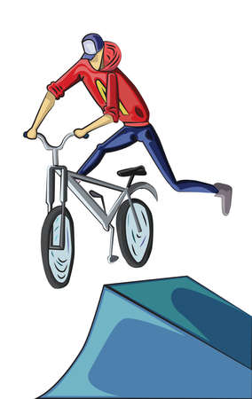 Teenager riding mountain bike isolated on white. Young man doing bike tricks. Outdoor Activity Vector illustration. Illustration