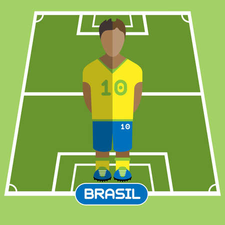 computer club: Football Soccer Player silhouette isolated on the play field. Computer game Brasil Football club player. Digital background vector illustration.