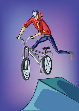 Teenager riding mountain bike. Young man doing bike tricks. Outdoor Activity Vector illustration.