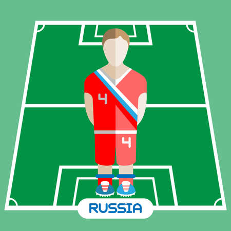 computer club: Football Soccer Player silhouette isolated on the play field. Computer game Russia Football club player. Digital background vector illustration. Illustration