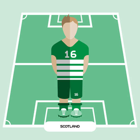 computer club: Football Soccer Player silhouette isolated on the play field. Computer game Scotland Football club player. Digital background vector illustration.