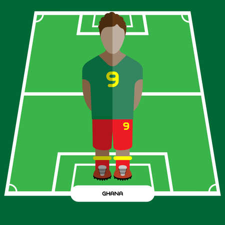 soccer background: Football Soccer Player silhouette isolated on the play field. Computer game Ghana Football club player. Digital background vector illustration.