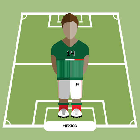 computer club: Football Soccer Player silhouette isolated on the play field. Computer game Mexico Football club player. Digital background vector illustration. Illustration
