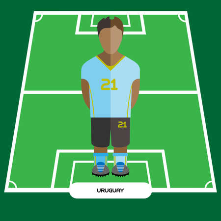 computer club: Football Soccer Player silhouette isolated on the play field. Computer game Uruguay Football club player. Digital background vector illustration.