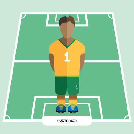 computer club: Football Soccer Player silhouette isolated on the play field. Computer game Australia Football club player. Digital background vector illustration. Illustration