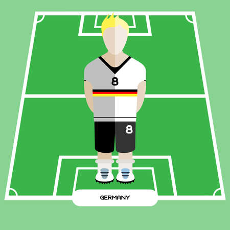computer club: Football Soccer Player silhouette isolated on the play field. Computer game Germany Football club player. Digital background vector illustration.