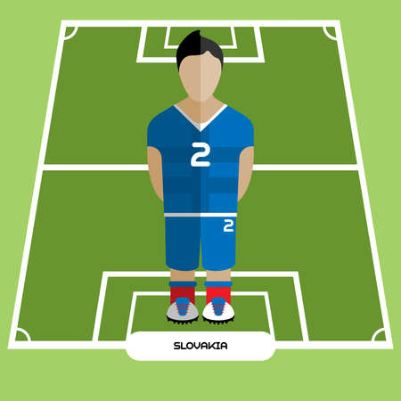 computer club: Football Soccer Player silhouette isolated on the play field. Computer game Slovakia Football club player. Digital background vector illustration.