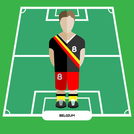 computer club: Football Soccer Player silhouette isolated on the play field. Computer game Belgium Football club player. Digital background vector illustration.