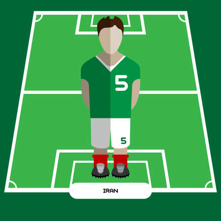 computer club: Football Soccer Player silhouette isolated on the play field. Computer game Iran Football club player. Digital background vector illustration.