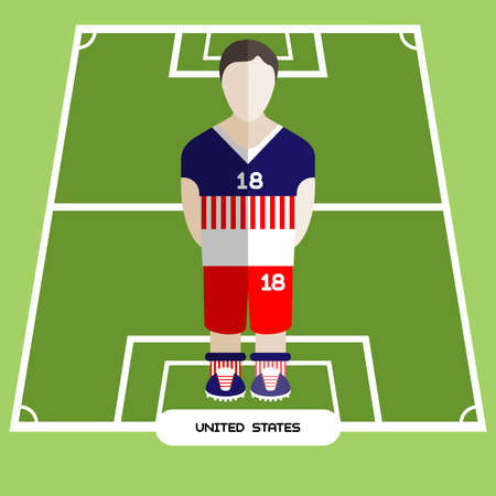 computer club: Football Soccer Player silhouette isolated on the play field. Computer game United States Football club player. Digital background vector illustration.