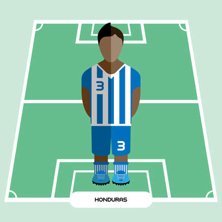 computer club: Football Soccer Player silhouette isolated on the play field. Computer game Honduras Football club player. Digital background vector illustration. Illustration