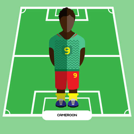 computer club: Football Soccer Player silhouette isolated on the play field. Computer game Cameroon Football club player. Digital background vector illustration.