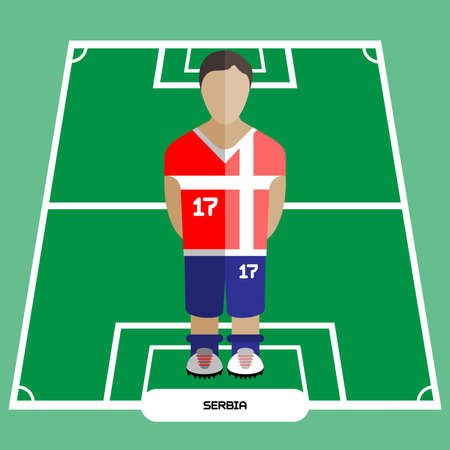 computer club: Football Soccer Player silhouette isolated on the play field. Computer game Serbia Football club player. Digital background vector illustration. Illustration