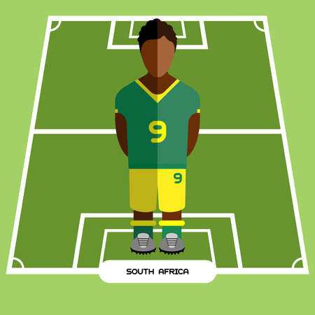 computer club: Football Soccer Player silhouette isolated on the play field. Computer game South Africa Football club player. Digital background vector illustration.