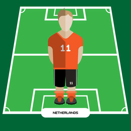 computer club: Football Soccer Player silhouette isolated on the play field. Computer game Netherlands Football club player. Digital background vector illustration. Illustration