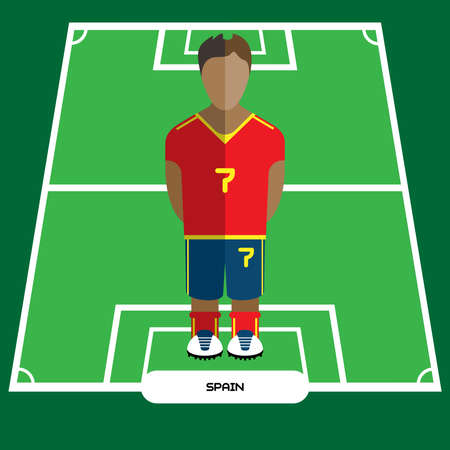 computer club: Football Soccer Player silhouette isolated on the play field. Computer game Spain Football club player. Digital background vector illustration.
