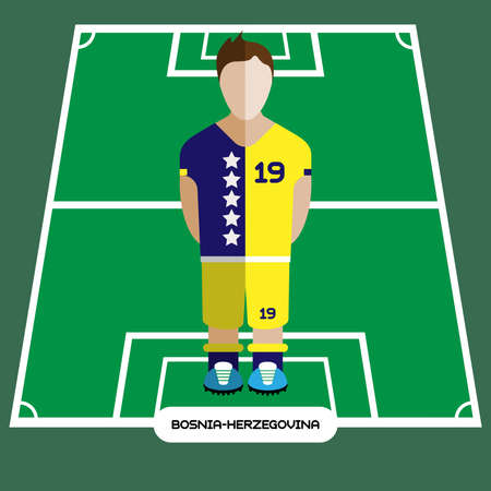 computer club: Football Soccer Player silhouette isolated on the play field. Computer game Bosnia and Herzegovina Football club player. Digital background vector illustration.