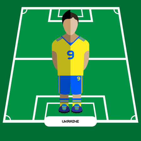 computer club: Football Soccer Player silhouette isolated on the play field. Computer game Ukraine Football club player. Digital background vector illustration. Illustration