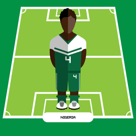 computer club: Football Soccer Player silhouette isolated on the play field. Computer game Nigeria Football club player. Digital background vector illustration.
