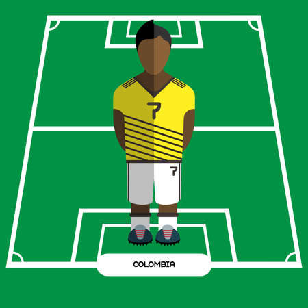 computer club: Football Soccer Player silhouette isolated on the play field. Computer game Colombia Football club player. Digital background vector illustration.