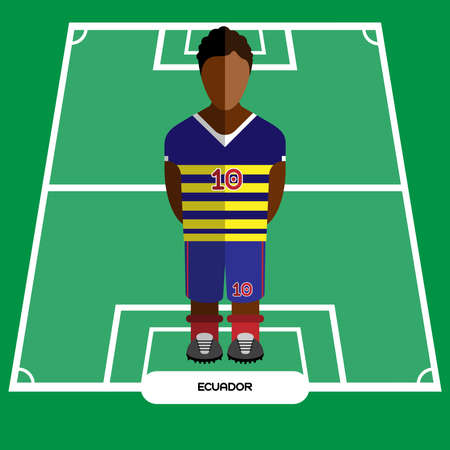 computer club: Football Soccer Player silhouette isolated on the play field. Computer game Ecuador Football club player. Digital background vector illustration.