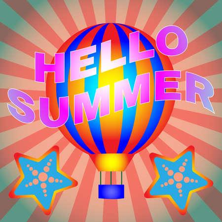 hot deals: Travel agency advertisement. Summer vacation hot deals flyer template. Hot air balloon flight and diving offers. Vector illustration.