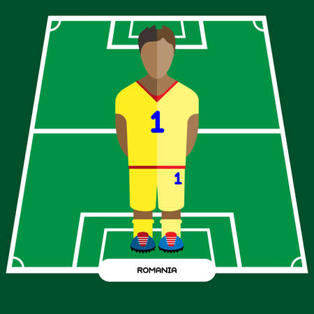 computer club: Football Soccer Player silhouette isolated on the play field. Computer game Romania Football club player. Digital background vector illustration. Illustration