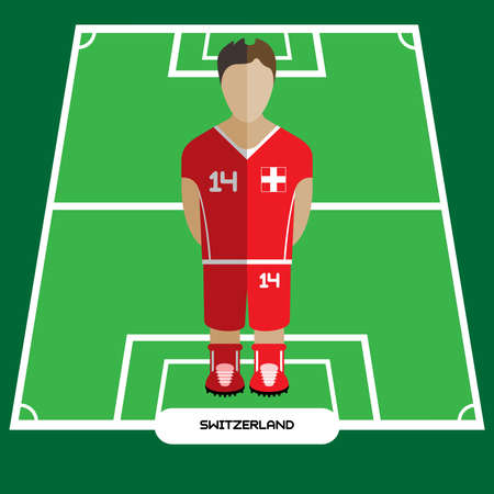 computer club: Football Soccer Player silhouette isolated on the play field. Computer game Switzerland Football club player. Digital background vector illustration. Illustration